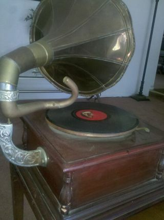 Vintage Victrola Gramophone His Master ' S Voice Sound Box Brass Horn Nr photo
