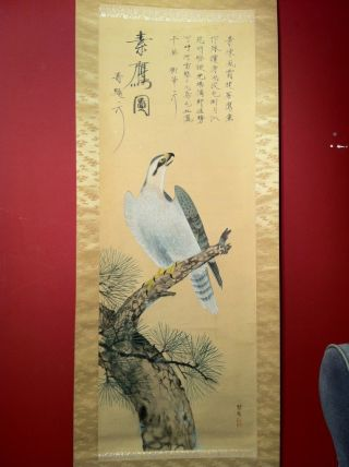 Antique Scroll Of Asian Painting And Calligraphy - Eagle With Poem (translated) photo