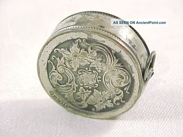 Antique Sterling Silver Tape Measure,  Dented On One Side Tools, Scissors & Measures photo
