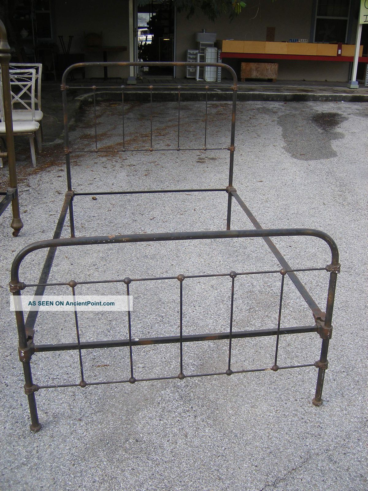 Antique Iron Brass Twin Bed Head And Foot Board With Rails 1900-1950 photo