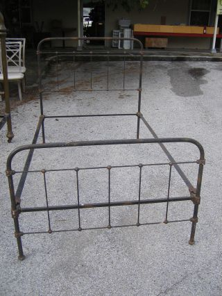 Antique Iron Brass Twin Bed Head And Foot Board With Rails photo