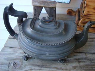 Antique Teapot Dixon & Son Britannia Pewter - - Feet - Wood Finial,  Handle Org photo