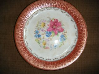 Rose Pottery Co.  22 - K - Gold Antique Plate - Red Rim - Lotus photo