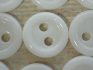 24 White China Buttons Tire Shaped Quilt Craft 7/16