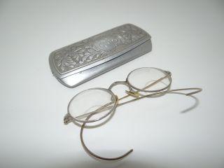 Antique 1/10 12 K Gf Round Lens Bifocals Spectacles Glasses W/ Lgr Engraved Case photo
