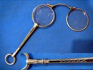 Art Deco Sterling Silver 935 Nielle Lorgnette Spectacles Folding Opera Glasses photo