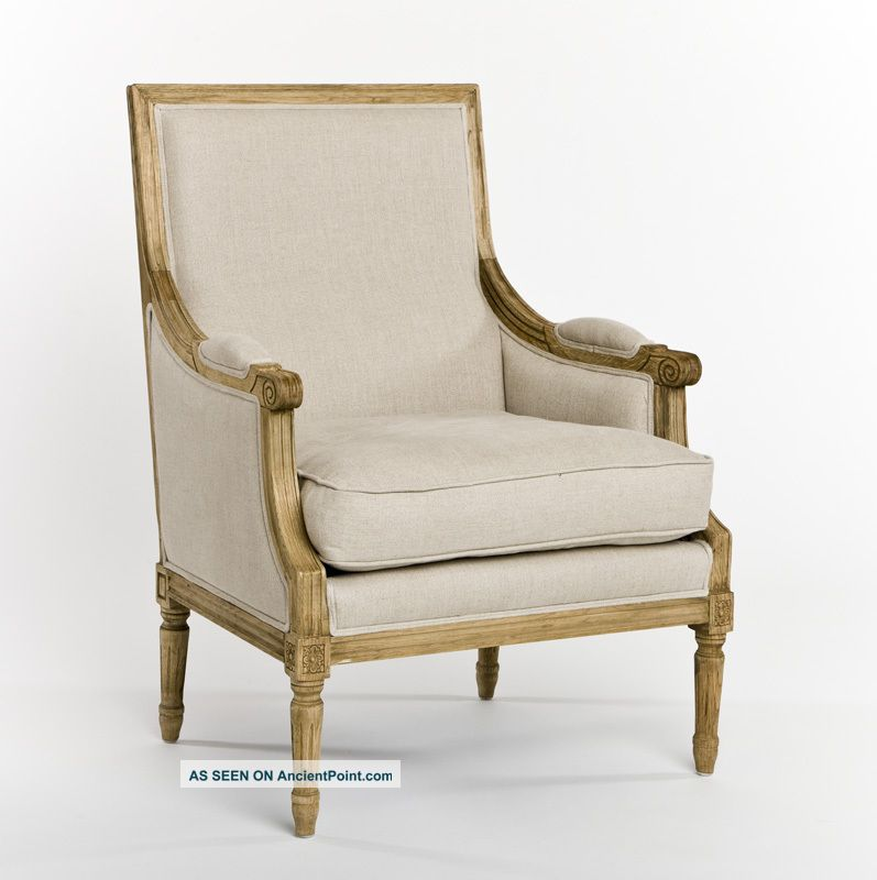 Shabby Chic Sofas And Chairs : Chic Shabby French Style Oak 100% Linen Sofa, 70 W Post-1950 photo