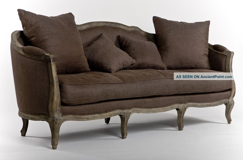 Chic Shabby French Style Oak 100% Linen Sofa, 70 W Post-1950 photo 1