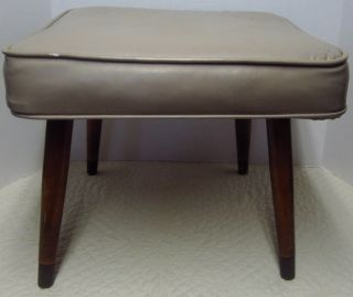Vintage Mid Century Bench Foot Stool With Vinyl Cover Tapered Legs photo