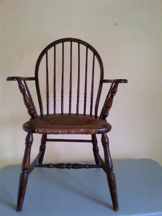 Windsor Armchair Spindle Back Rush Seat Antique Early 1900 ' S Or Earlier photo