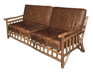 Fabulous Texas Style Rustic Root Leather Sofa,  65  Wide. photo