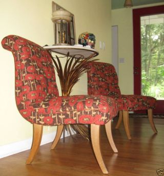 2 Mid Century Klismos Style Slipper Lounge Side Chairs photo
