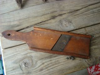 Antique Wood Kitchen Slicer 12 1/4  L Vegetable Slicer Single Blade Patina Org photo