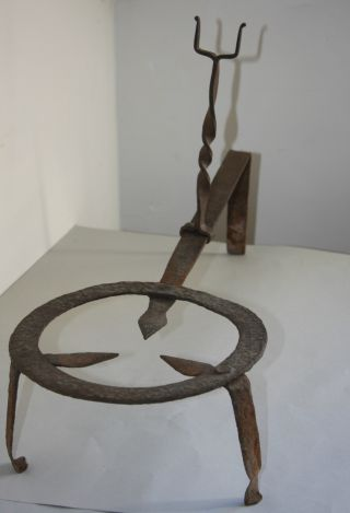 Very Rare 18th Century Iron Trivet With Forked Handle Rest & Great Early Surface photo