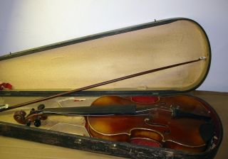 Vintage Antique Stradivarius Violin German Copy W/ Bow & Case photo