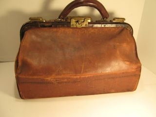 Antq.  Leather Doctor ' S Satchel Bag Brown Leather Initials B.  A.  B.  Single Handle photo