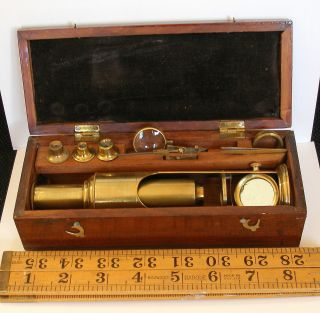 Early 19th.  C.  Boxed Drum Microscope & Accessories photo