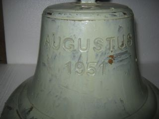 Vintage Ship Brass Bell From Passenger Vessel - Ms Philippines - Mv Augustus 1950 photo