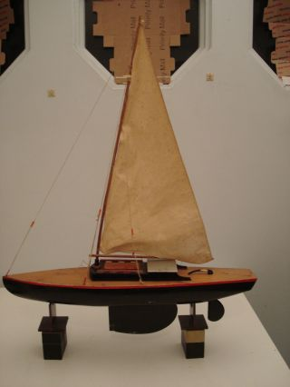 Antique Vintage Toy Wooden Wood Model Pond Yacht Sail Boat Ship photo