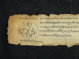 Antique Ancient Mongolia Mongolian Buddhist Manuscript Palm Tantra Piece Tibetan photo