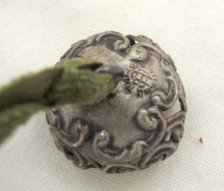 Antique Victorian Acorn Sterling Silver Pin Cushion Top Velvet Ribbon Sewing photo