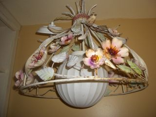 Vintage Moe Hanging Light Signed Italy Tole Chandelier Ceiling Lamp Metal Flower photo
