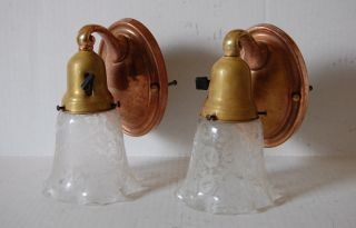 Pair Antique Brass Wall Sconces W/ Etched Flower Shades photo