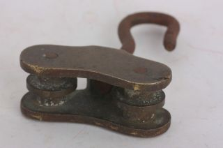 Brass Pulley Double Vintage Wheel Hook Antique Loft photo