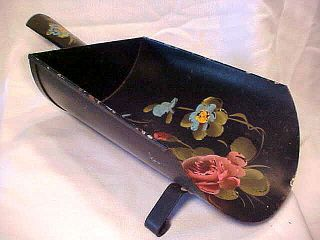 Vintage Black Toleware Tin Metal Scoop Floral Display Bowl Or Wall Hanging photo