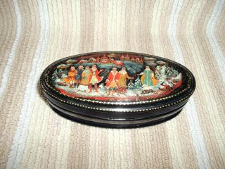 Hand Painted Signed Russian Trinket/jewellery Box photo
