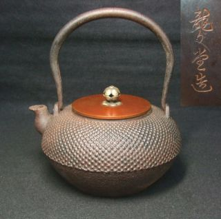 B077: Japanese Iron Teakettle Tetsubin By Famous Ryubun - Do Popular Arare Style photo