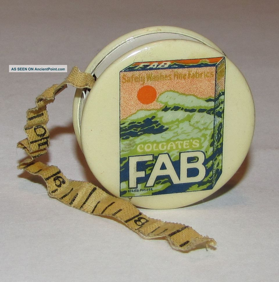 Antique Colgate Fab Detergent Advertising Celluloid Measuring Tape Measure Tools, Scissors & Measures photo