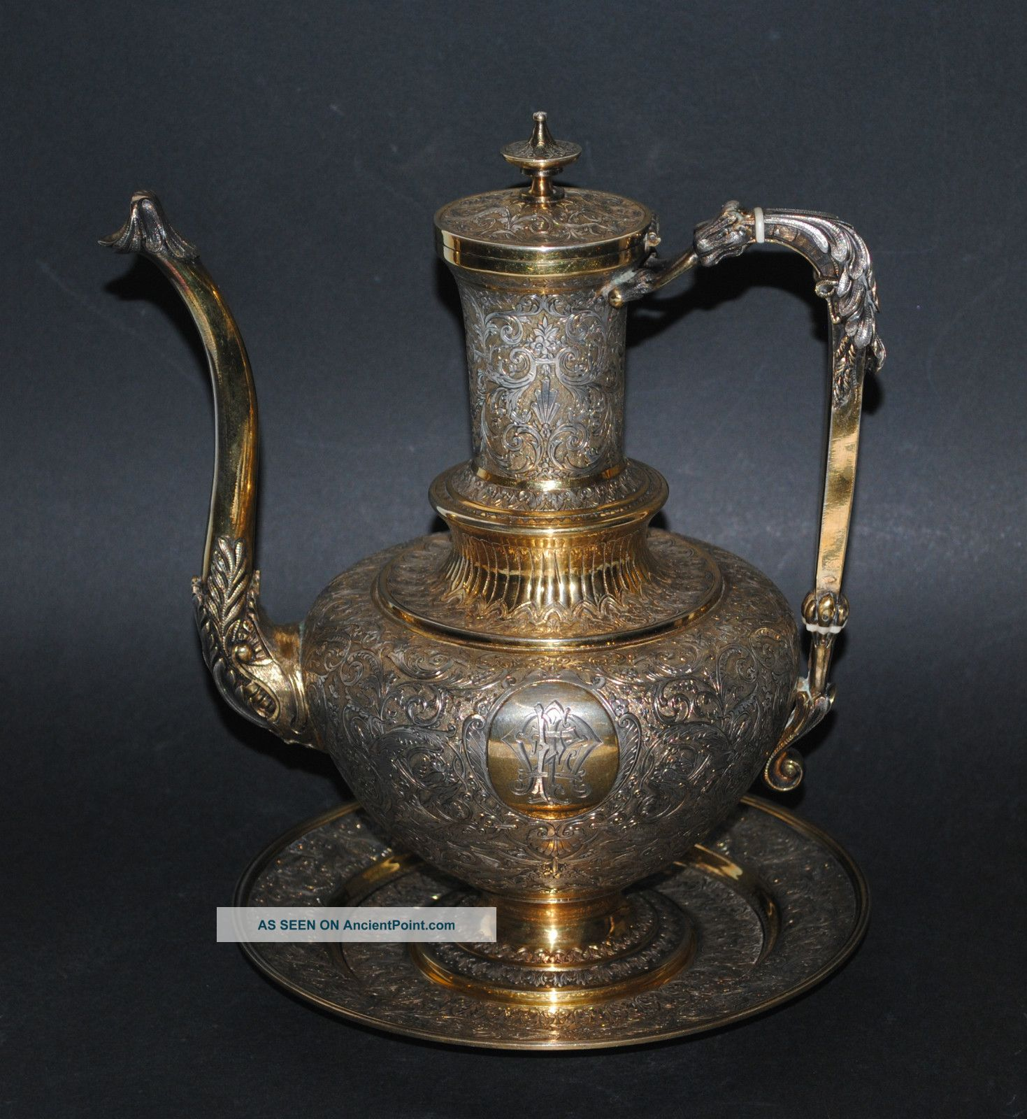 Exceptional Antique French Sterling Silver Parcel Gilt Neo Renaissance Ewer Dish France photo