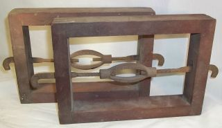 Antique Pair Wooden Display Bed Rails Deboer Mfg.  Co.  Syracuse N.  Y. photo