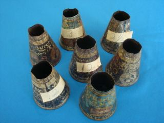 7 Antique Vintage Upholstery Cone Shaped Metal Tack Tins Burkart & Burch Usa photo