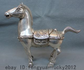 China Chinese Zodiac Year Silver Successful War Folk Stand Tang War Horse Statue photo