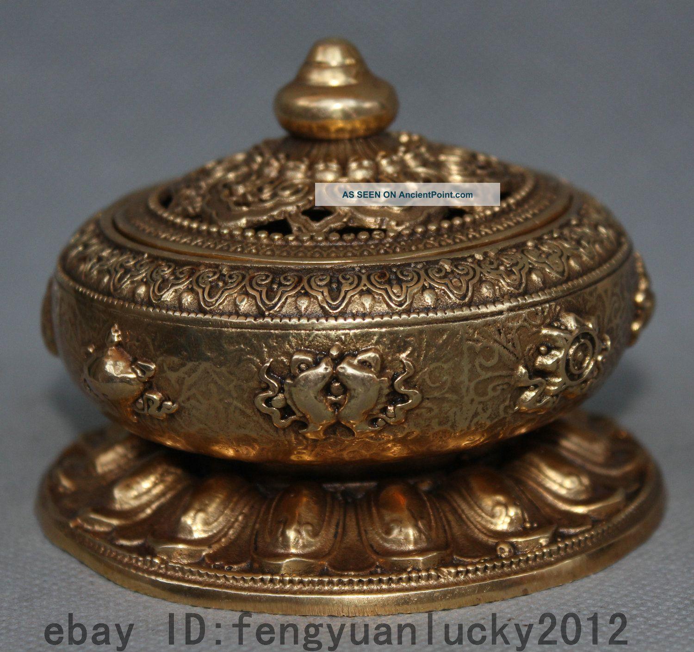 Tibet Tibetan Buddhism Brass 8 Auspicious Symbol Incense Burner Censer Box Reproductions photo