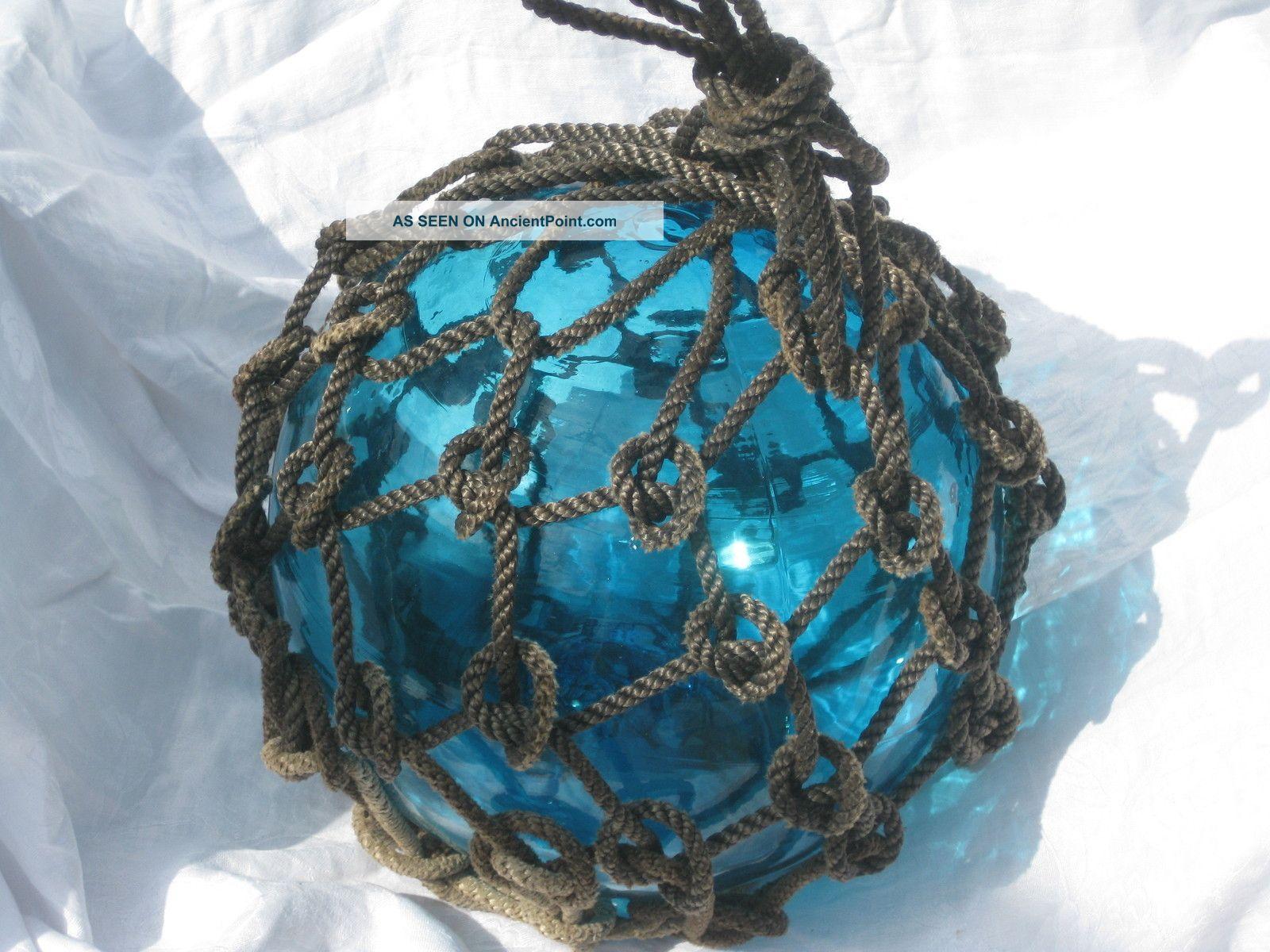 Japanese Glass Fish Floats Large Deep Cobalt