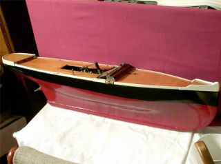 Vintage Antique Clockwork Motor Wood Boat Model Wooden Wind Up Ship Pond Yacht photo