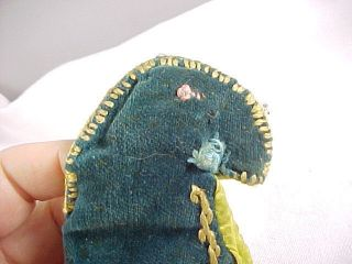 Antique Embroidered Heart Sewing Pin Cushion And Figural Parrot Needle Case photo