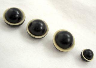 Vintage Buttons Celluloid Art Deco Round Black W/ Beige Self Shank Four Buttons photo