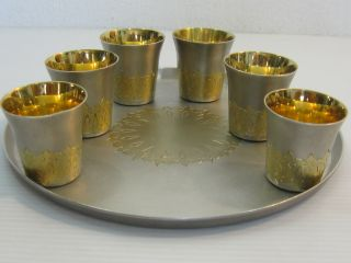 A And Rare,  Vintage,  Russian Silver Stamped & Hallmarked Tray And Cups photo