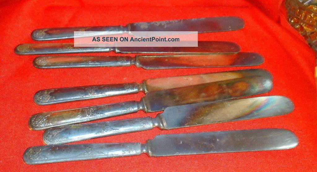 Vintage 6+1 Blunt Dinner Knives Silver Plate Flower Design Handles Unmarked Other photo