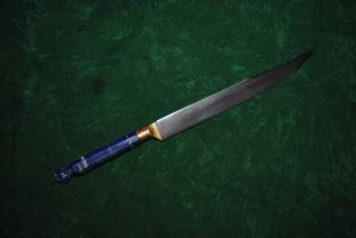 Antique Ottoman Turkish Lapis Lazuli Kard Wootz Gold Damascened Knife photo