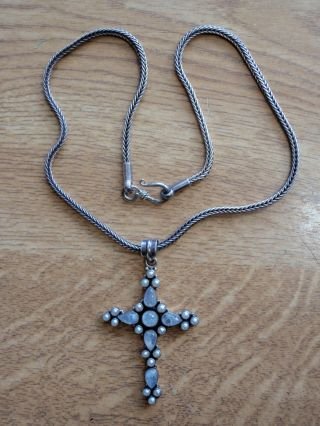 925 Silver Cross And Chain Made In India With Rock Crystal? And Pearls photo