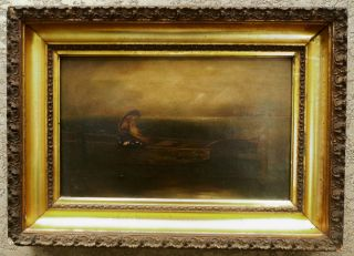 Antique Oil Painting Canvas Woman Girl In A Fishing Row Boat Maritime Seascape photo