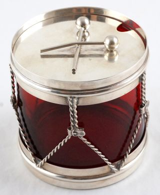 Blackinton Cranberry Glass & Sterling Silver Drum Figural Condiment Jar – C 1900 photo