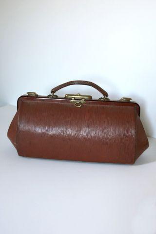 Cête D ' Or Brown Leather Gladstone Doctor Bag - Antique Vintage photo