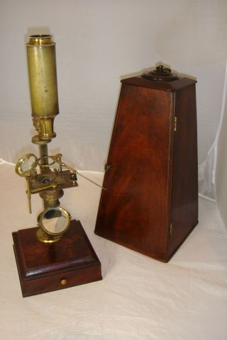 Antique Brass Jones Improved Type Monocular Microscope C1800 photo