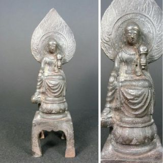 B136: Chinese Iron Ware Buddhist Statue With Good Iron Taste photo